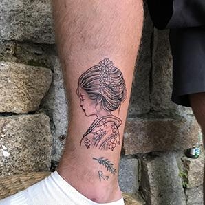 japannese girl blackwork tattoo